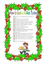 English Worksheet: How to cook a X-Mas Turkey - a funny recipe