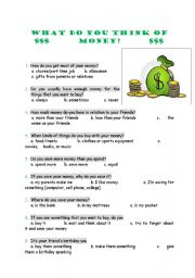 English Worksheet: What do you think of money?