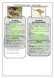 English Worksheet: Australian Animals 1/3