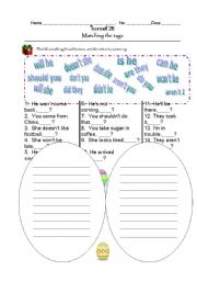 English Worksheets: Matching the tags
