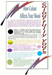 English Worksheet: How Colour affects your mood