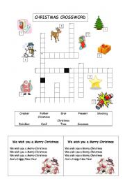 ... worksheet: Christmas Crossword and We wish you a Merry Christmas