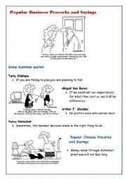 English Worksheet: Popular business sayings and proverbs: fun with reading activity list