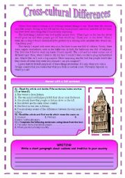 English Worksheets: Reading :British Customs and Traditions