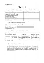 English Worksheet: family listening and reading