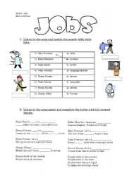 English Worksheets: jobs song