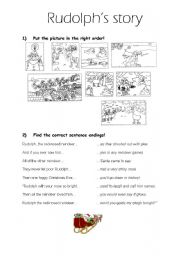 English Worksheet: The story of Rudolph the red-nosed reindeer