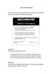 English Worksheet: Travel Agency Job Advert