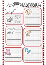 English Worksheets: writing handout animals