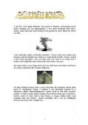 English Worksheets: the lockness mo,ster