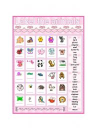 English Worksheet: Label the animals