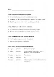English Worksheets: Subject-Predicate-Noun-Verb-Adj