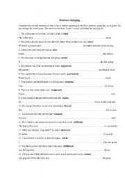 English Worksheets: Sentence-changing