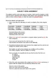 English Worksheet: Subject Verb Agreement