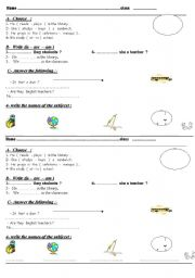 English Worksheets: subjects