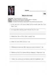 English Worksheets: questions on the movie Iron man