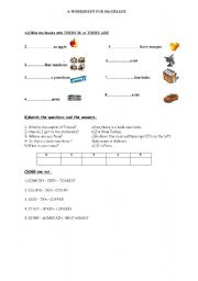 English Worksheets: A worksheet for 5th classes