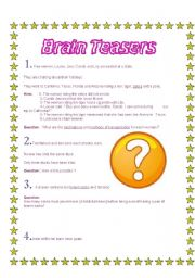 English Worksheets: Brain teasers