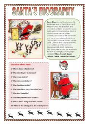 English Worksheets: Santa�s biography