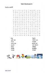 English worksheet: verb wordsearch