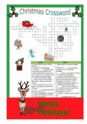 English Worksheet: Christmas crossword - Answers are provided