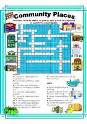 community places crossword esl worksheet by ehelland33. Black Bedroom Furniture Sets. Home Design Ideas