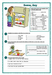 English Worksheet: Some, any