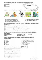 English Worksheet: exam questions for 6th grade