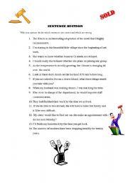 English Worksheets: Sentence auction