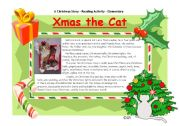 English Worksheets: Xmas the Cat - Part 1