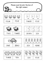 English Worksheet: Count & Color