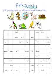 English Worksheets: pet sudoku