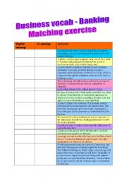 English Worksheets: Business vocab - Banking Matching Exercise