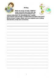 English worksheet: Earth Writing Task - Promoting Essay Structured Writing