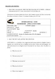 English worksheet: Reading and Writing exercises