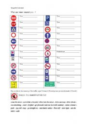 English Worksheet: Modal verbs - traffic signs