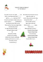 English Worksheet: Frosty the snowman - a song for Christmas and winter time.