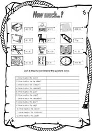 English Worksheets: How much...? - Prices