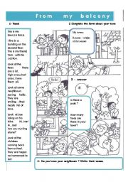 English Worksheets: From my balcony
