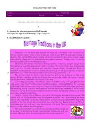 English Worksheet: marriage traditions in the UK