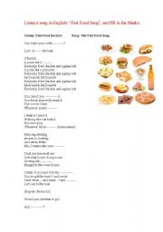 English Worksheet: fast food song