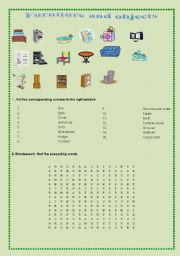 English worksheet: Furniture and objects