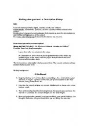 English Worksheets: Writing Assignment: Description