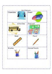 English worksheet: School Flash-cards