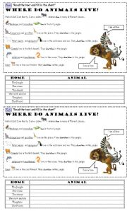 English Worksheets: Reading Comprehension - Animal Homes