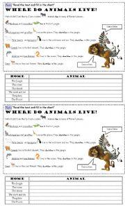English Worksheet: Reading Comprehension - Animal Homes