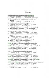 English Worksheets: Exercises on conjunctions