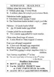 English Worksheets: Headlines instructions