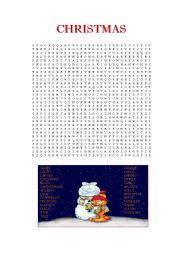 English Worksheet CHRISTMAS Wordsearch Puzzle