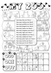 English Worksheet: My Zoo